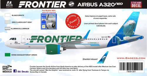 1/144 Scale Decal Frontier A-320 NEO Mia the Dolphin