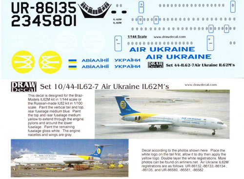 1/144 Scale Decal Air Ukraine IL-62M