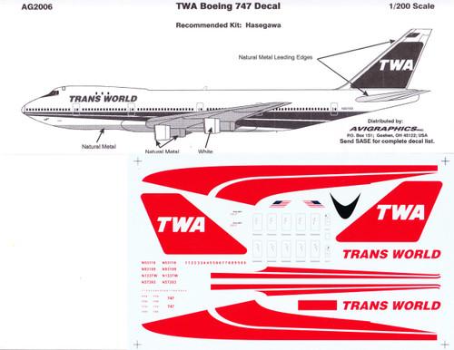 1/200 Scale Decal TWA 747