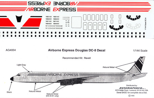 1/144 Scale Decal Airborne Express DC-8