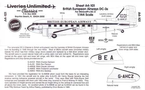 1/144 Scale Decal British European Airways DC-3