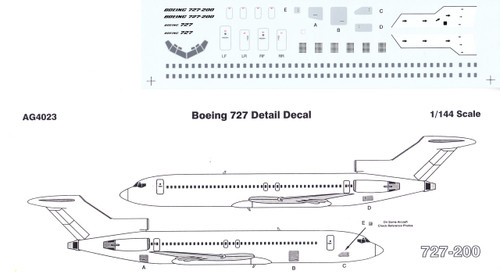 1/144 Scale Decal Detail Sheet 727-100 / 200