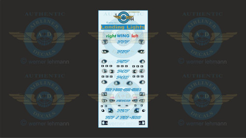 1/144 Scale Decal Landing Lights 777 / 767 / 757 / 747 / 737 / 727 / 707