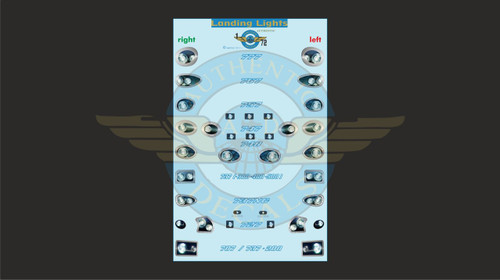 1/72 Scale Decal Landing Lights 777 / 767 / 757 / 747 / 737 / 727 / 707