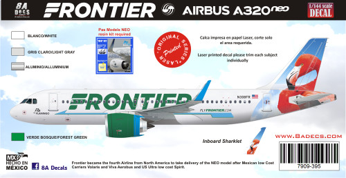 1/144 & 1/200 Scale Decal Frontier A-320 NEO