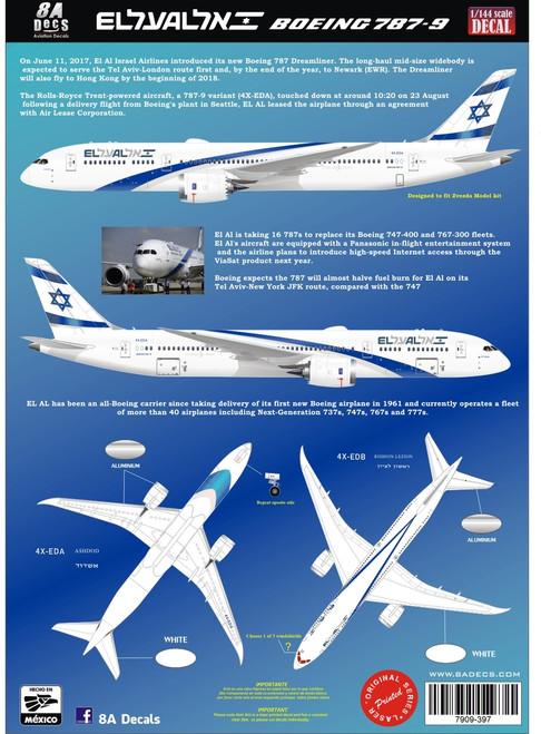 1/144 Scale Decal El Al 787-9