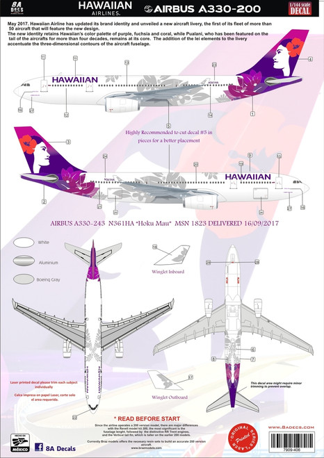 1/144 ScaleDecal Hawaiian A330-200