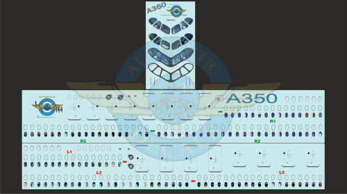 1/144 Scale Decal Lifelike Cockpit & Windows A-350