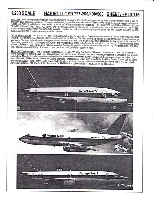 1/200 Scale Decal Air Berlin / Hapag-Lloyd 737-200 / 400 / 500