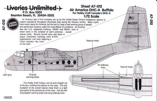 1/72 Scale Decal Air America DHC-4