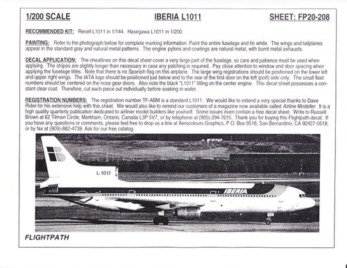 1/200 Scale Decal Iberia Airlines L-1011
