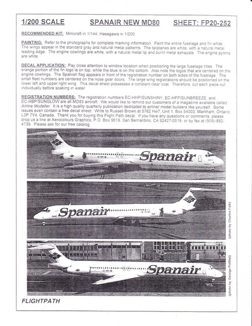 1/200 Scale Decal Spanair MD-80