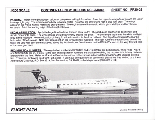 1/200 Scale Decal Continental DC9-30 / MD-80