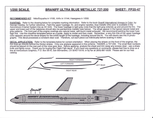 1/200 Scale Decal Braniff 727-200 ULTRA BLUE METALIC