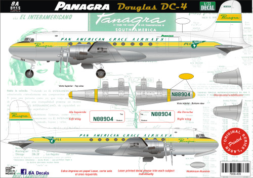 1/72 Scale Decal Panagra DC-4