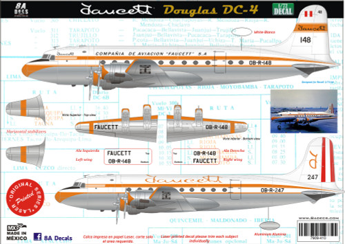 1/72 Scale Decal Faucett DC-4