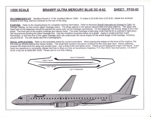 1/200 Scale Decal Braniff Ultra DC8-62 MERCURY BLUE