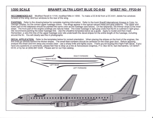 1/200 Scale Decal Braniff Ultra DC8-62 LIGHT BLUE