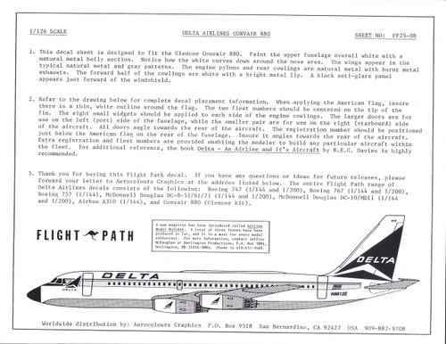 1/126 Scale Decal Delta Airlines Convair 880 (Glencoe)