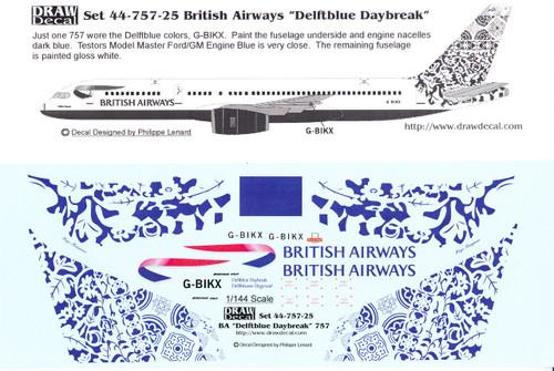 1/144 Scale Decal British Airways 757 Delftblue Daybreak