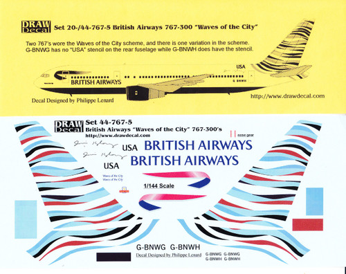 1/144 Scale Decal British Airways 767-300 Waves of the City