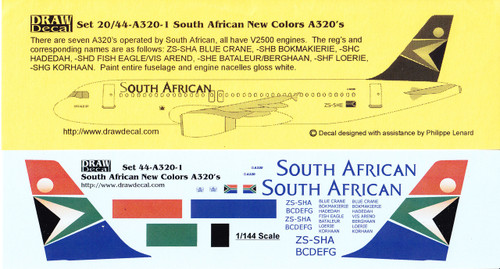 1/144 Scale Decal South African Airways A-320