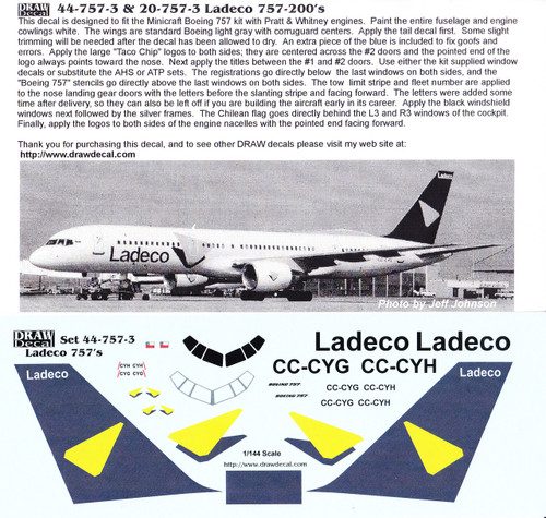 1/144 Scale Decal Ladeco 757-200