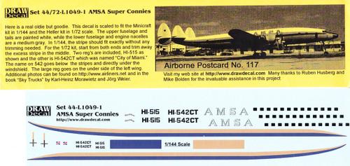1/144 Scale Decal AMSA Super Connie