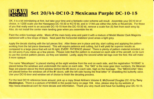 1/144 Scale Decal Mexicana DC10-15