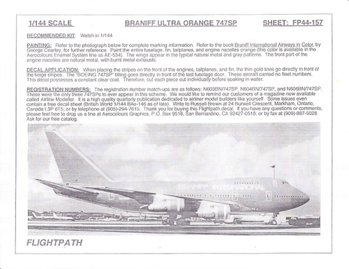 1/144 Scale Decal Braniff 747-SP Ultra Orange
