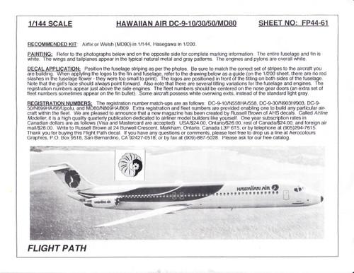 1/144 Scale Decal Hawaiian Air DC9-10 / 30 / 50 / MD-80