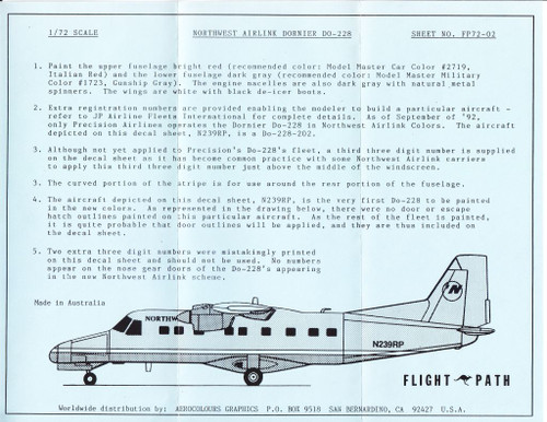 1/72 Scale Decal Northwest Airlink DO-228
