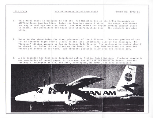 1/72 Scale Decal Pan Am Express DHC-6 Twin Otter