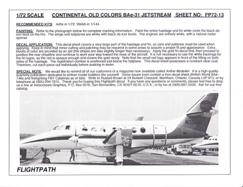 1/72 Scale Decal Continenatal Express BAe 31 Jetstream