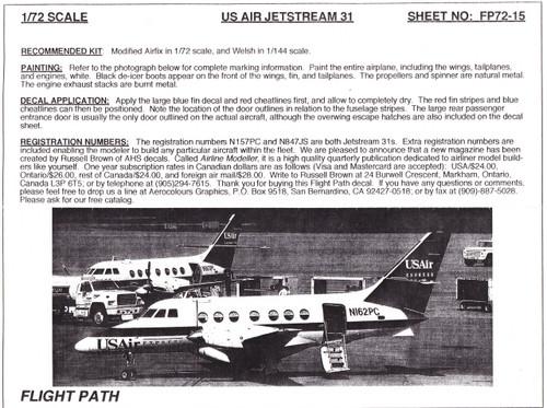1/72 Scale Decal USAir Express BAe 31 Jetstream