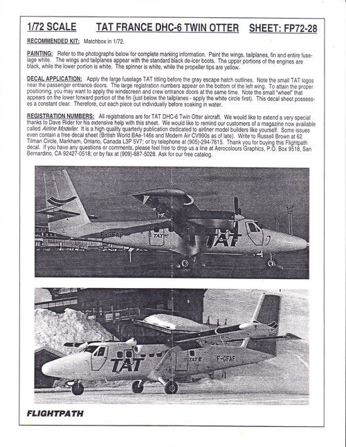 1/72 Scale Decal TAT DHC-6 Twin Otter