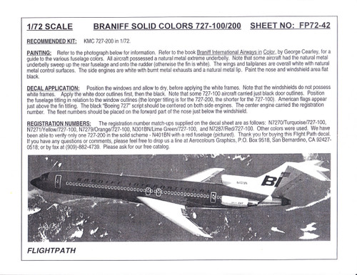 1/72 Scale Decal Braniff International 727-100 / 200