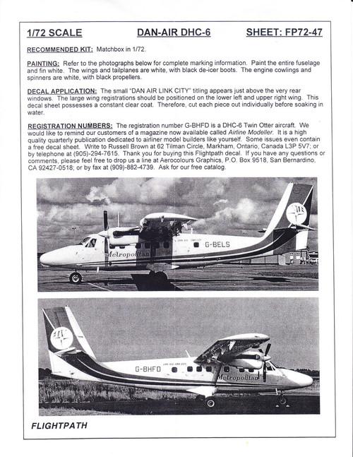 1/72 Scale Decal Dan-Air Link City Metropolitan DHC-6 Twin Otter