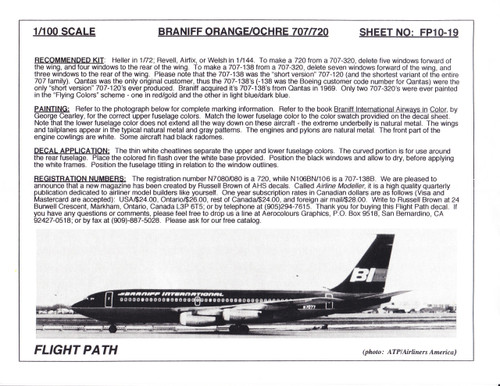 1/100 Scale Decal Braniff International 707 / 720 ORANGE / OCRE