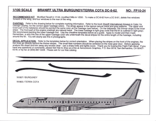 1/100 Scale Decal Braniff DC8-62 ULTRA BURGUNDY / TERRA COTA