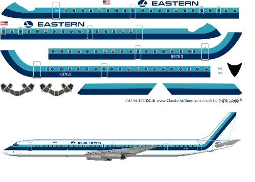 1/144 Scale Decal Eastern Airlines DC8-63