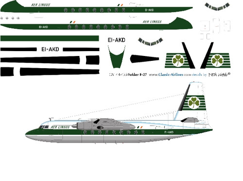 1/144 Scale Decal Aer Lingus F-27