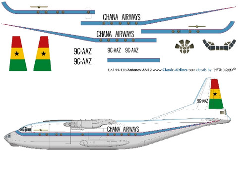 1/144 Scale Decal Ghana Airways AN-12