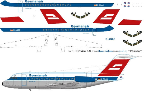 1/144 Scale Decal Germanair F-28