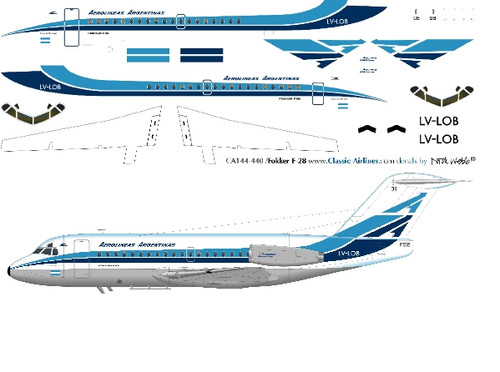 1/144 Scale Decal Aerolineas Argentinas F-28
