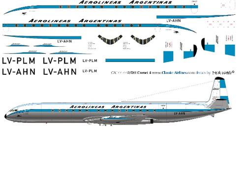 1/144 Scale Decal Aerolineas Argentinas Comet 4