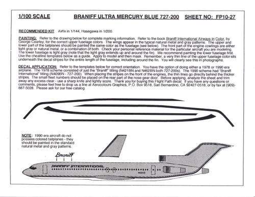 1/100 Scale Decal Braniff International 727-200 ULTRA MERCURY BLUE