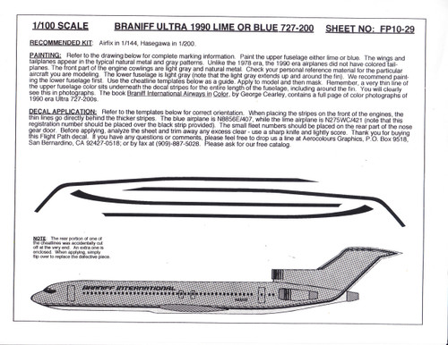 1/100 Scale Decal Braniff International 727-200 ULTRA LIME OR BLUE