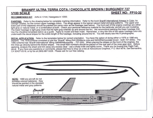 1/100 Scale Decal Braniff International 727-200 ULTRA TERRA COTA / BROWN / BURGUNDY