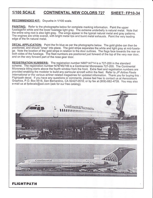 1/100 Scale Decal Continental / Continental Micronesia 727-200